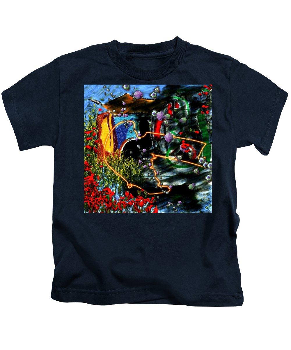 Ocean Water Deep Sea Nature Salad Kids T-Shirt featuring the digital art Aquatic Salad by Veronica Jackson