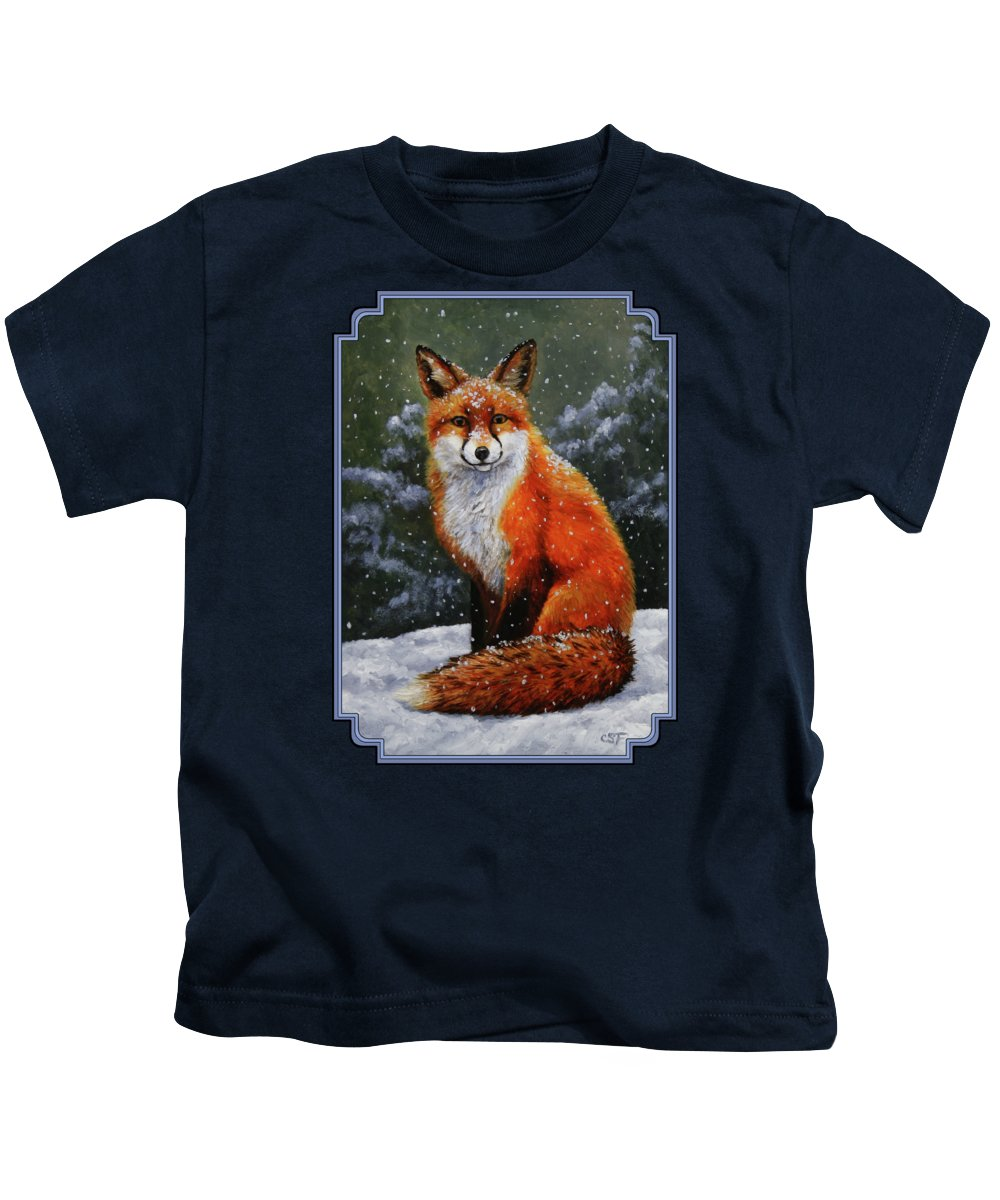 Dog Kids T-Shirt featuring the painting Snow Fox by Crista Forest