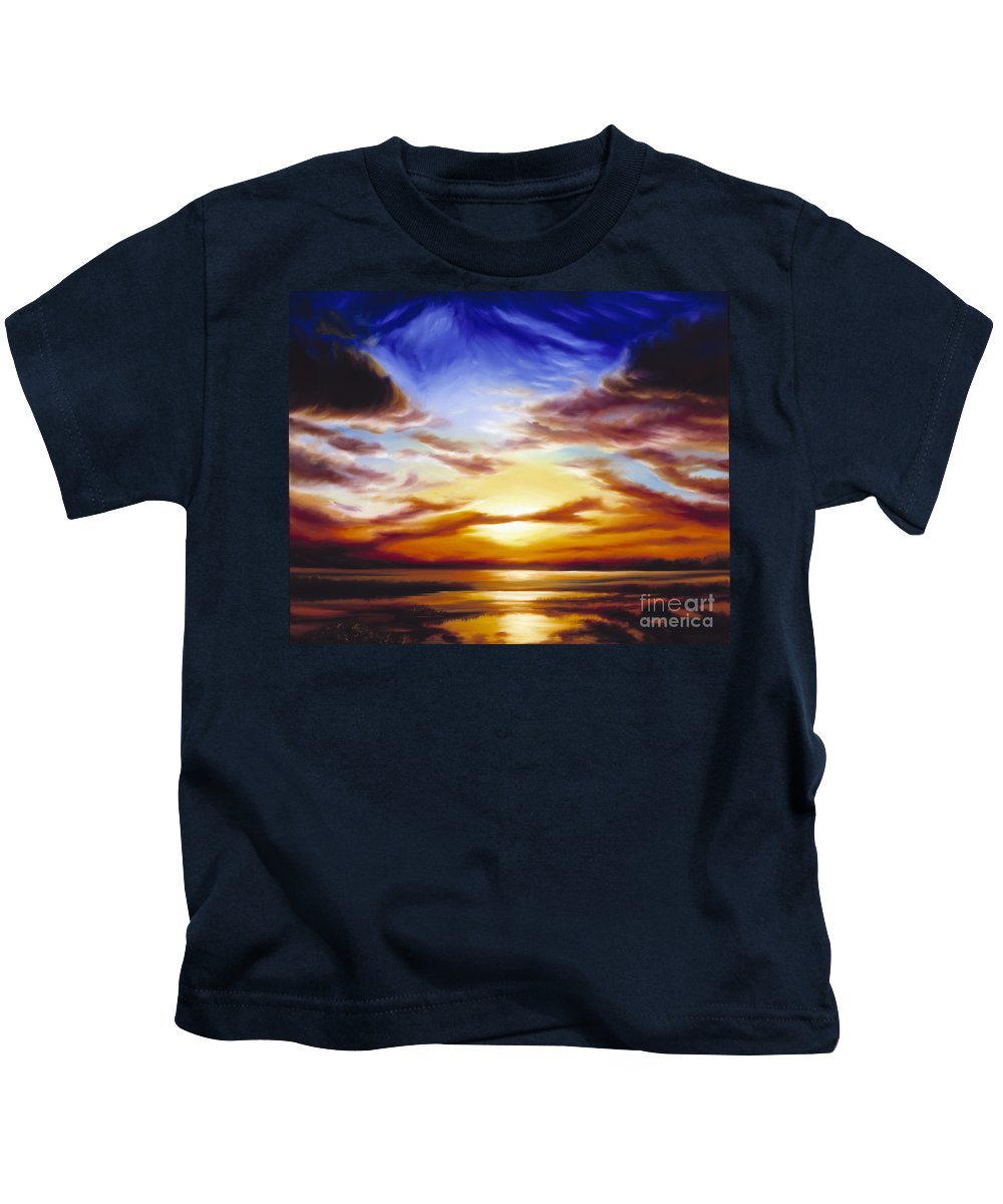 Skyscape Kids T-Shirt featuring the painting As The Sun Sets by James Christopher Hill