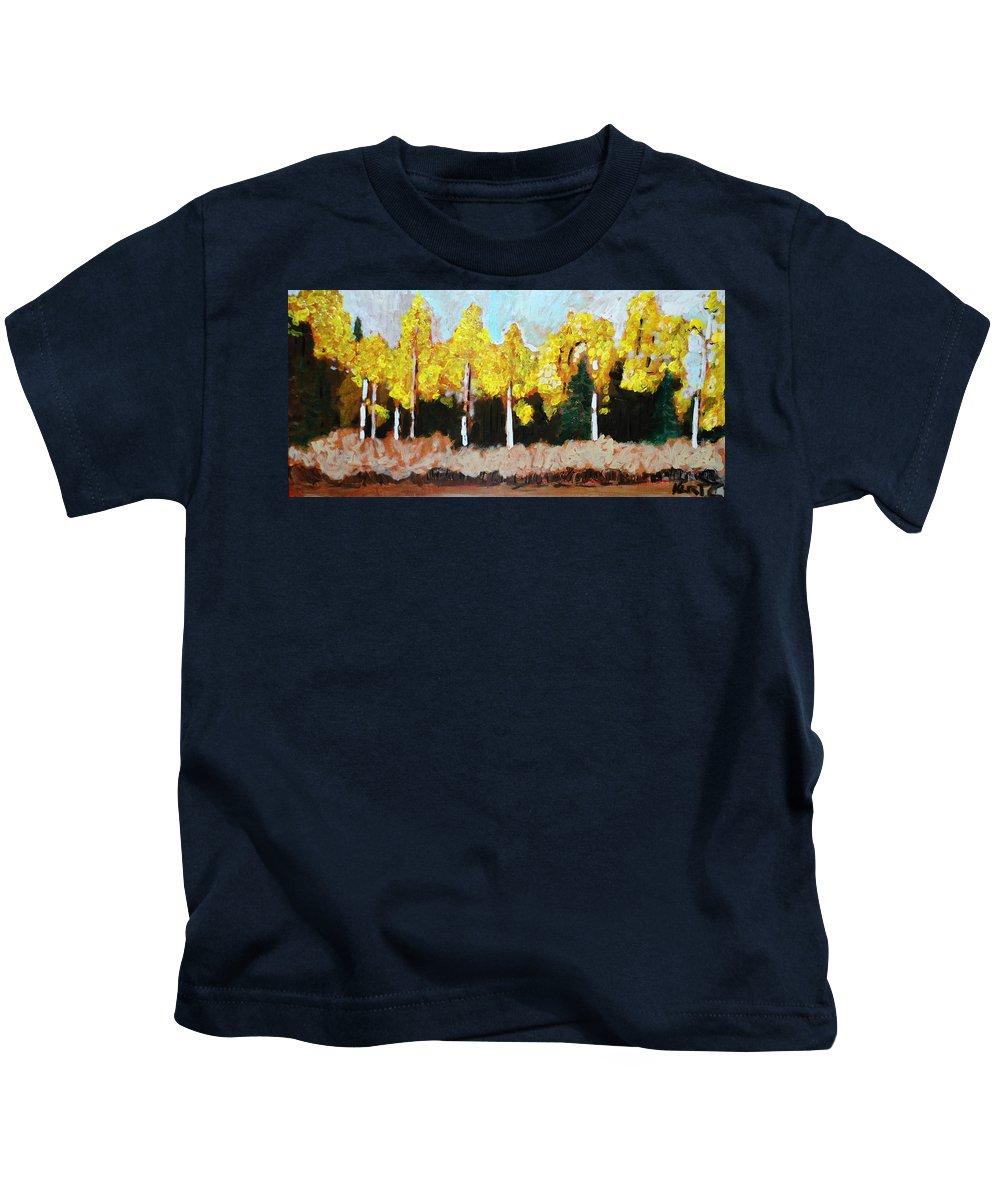 Fall Kids T-Shirt featuring the painting Aspens by Kurt Hausmann