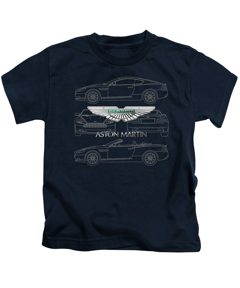 Wheels Of Fortune By Serge Averbukh Kids T-Shirt featuring the photograph Aston Martin 3 D Badge over Aston Martin D B 9 Blueprint by Serge Averbukh