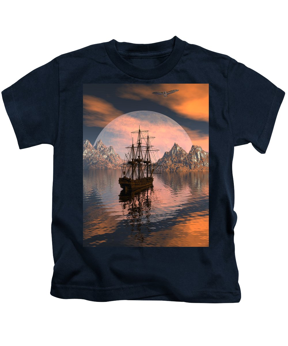 Bryce 3d Digital Fantasy Scifi Windjammer Sailing Kids T-Shirt featuring the digital art At Anchor by Claude McCoy