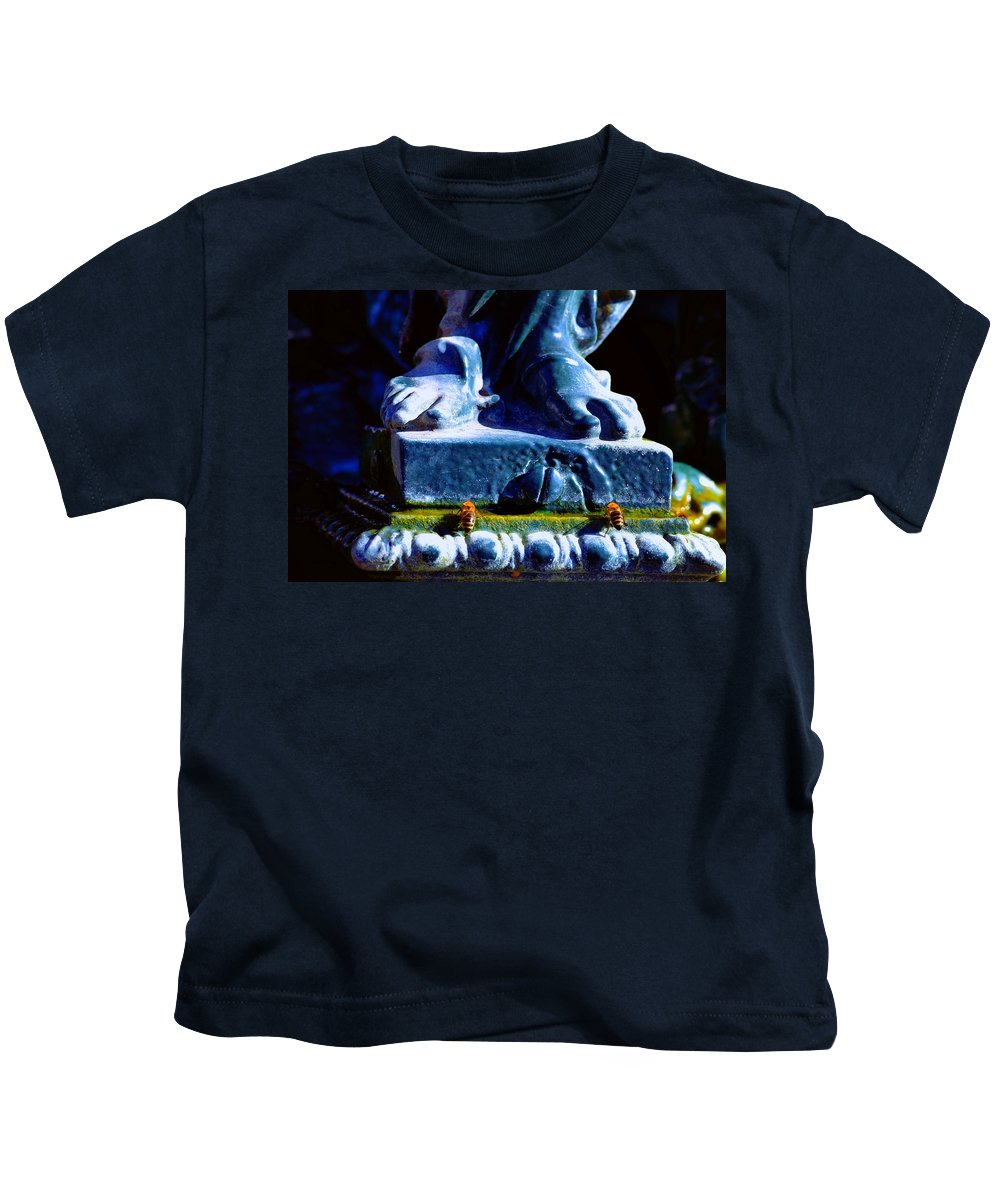 Statue Kids T-Shirt featuring the photograph At His Feet by Valerie Dauce