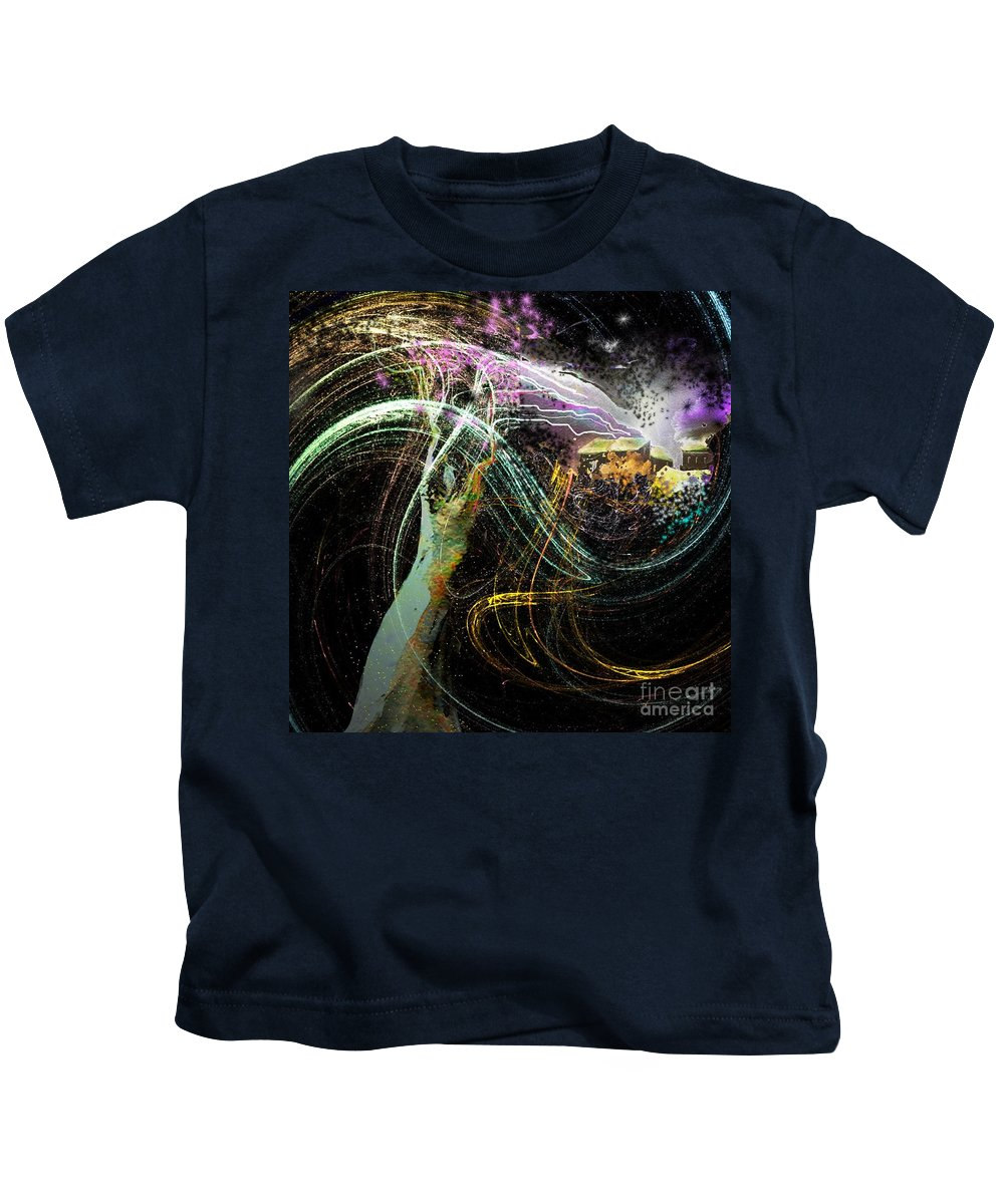 Fantasy Kids T-Shirt featuring the painting At The End Of The Cosmos by Miki De Goodaboom