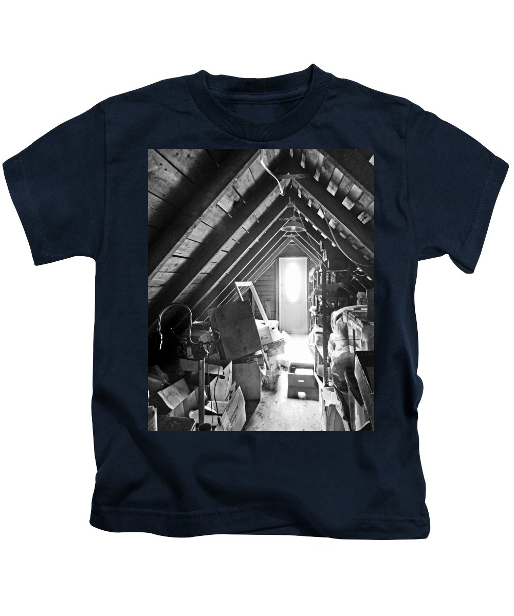 Attic Kids T-Shirt featuring the photograph Attic Space Bw by Francesa Miller