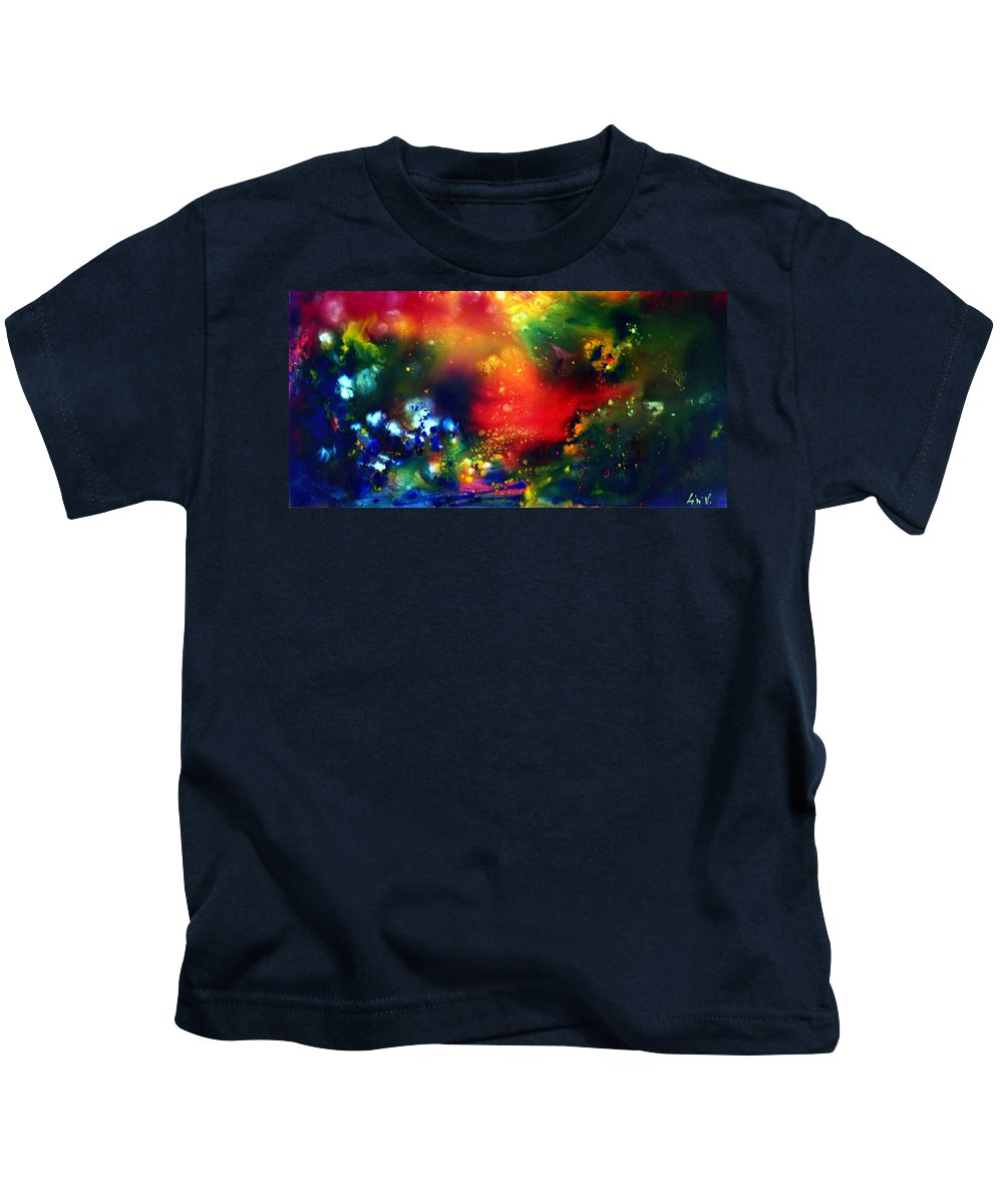 Abstract Kids T-Shirt featuring the painting Aurora Borealis by Luiza Vizoli