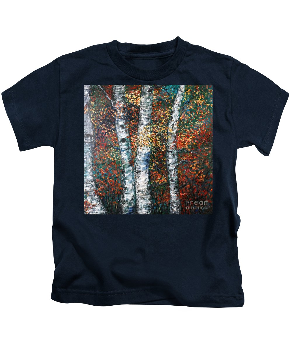 Birch Kids T-Shirt featuring the painting Autumn Birch by Nadine Rippelmeyer