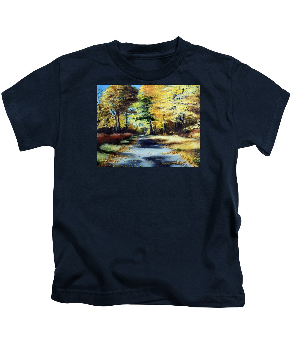 Landscape Kids T-Shirt featuring the painting Autumn Colors by Paul Walsh