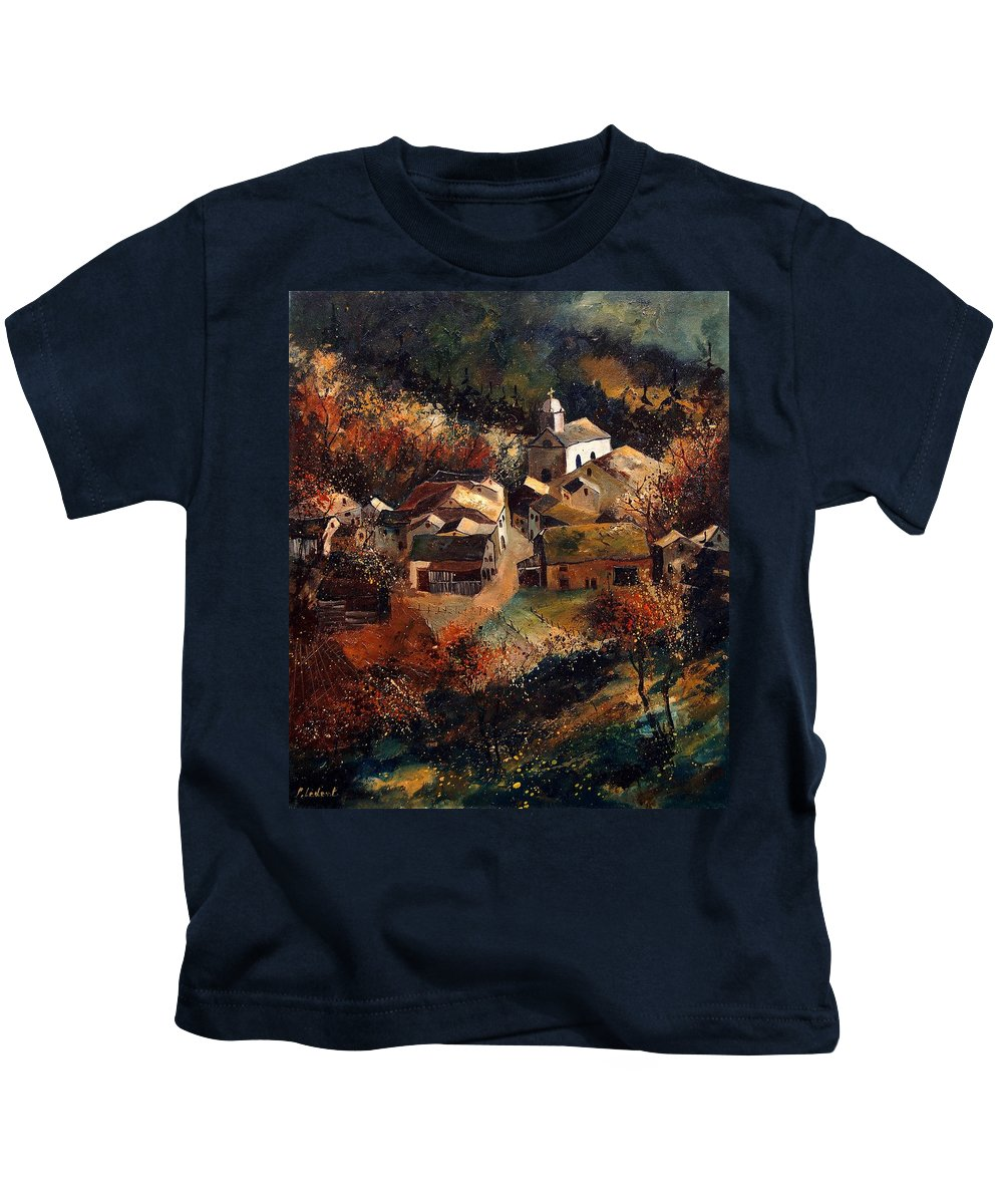 Tree Kids T-Shirt featuring the painting Autumn In Frahan by Pol Ledent