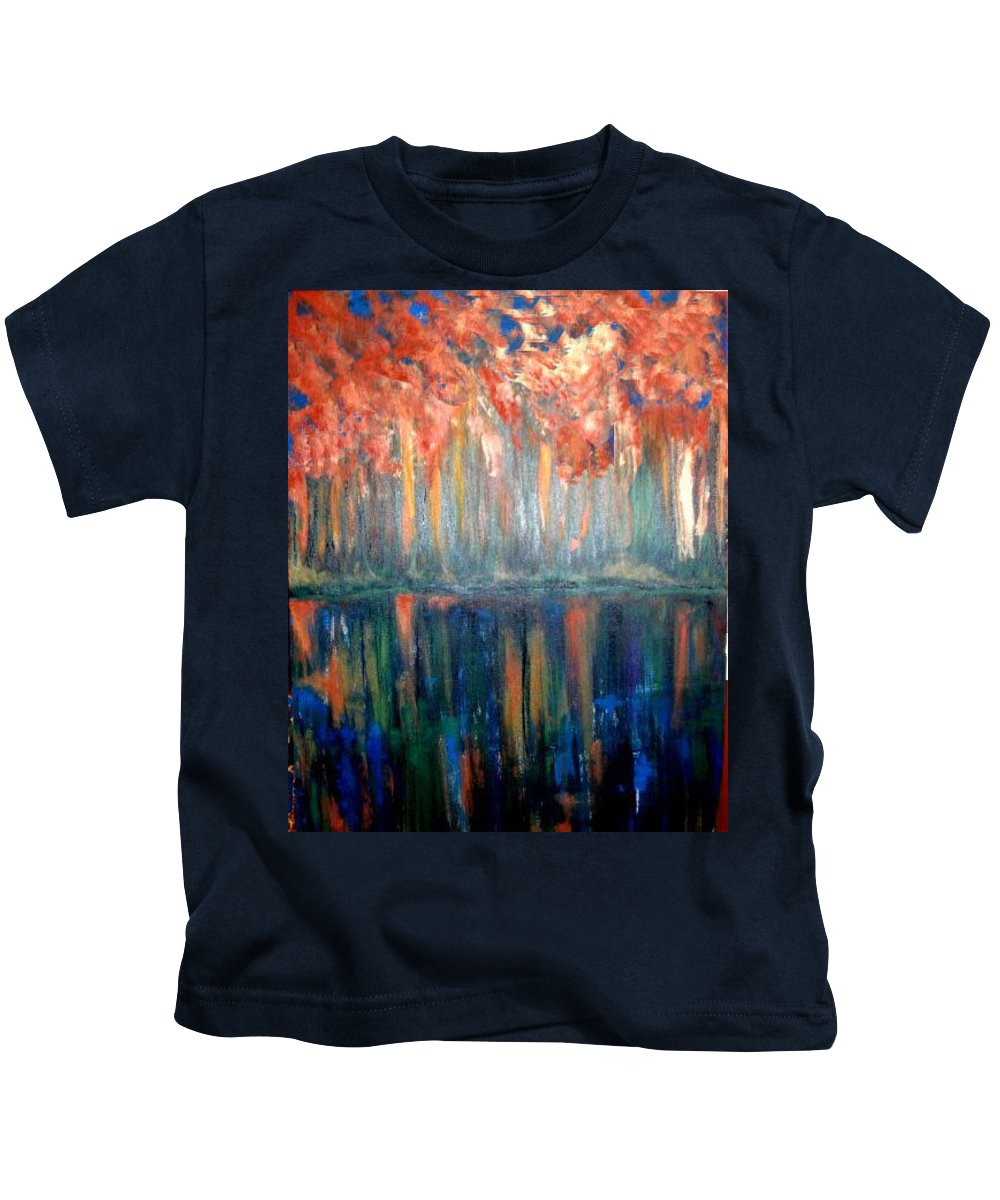 Original Art Kids T-Shirt featuring the painting Autumn Reflections by Rae Chichilnitsky