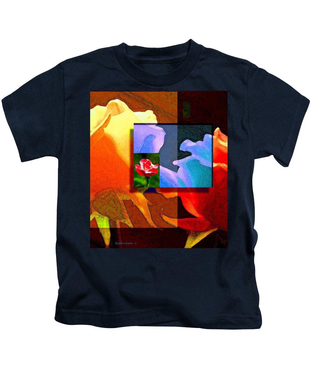 Modern Kids T-Shirt featuring the digital art Backlit Roses by Stephen Lucas