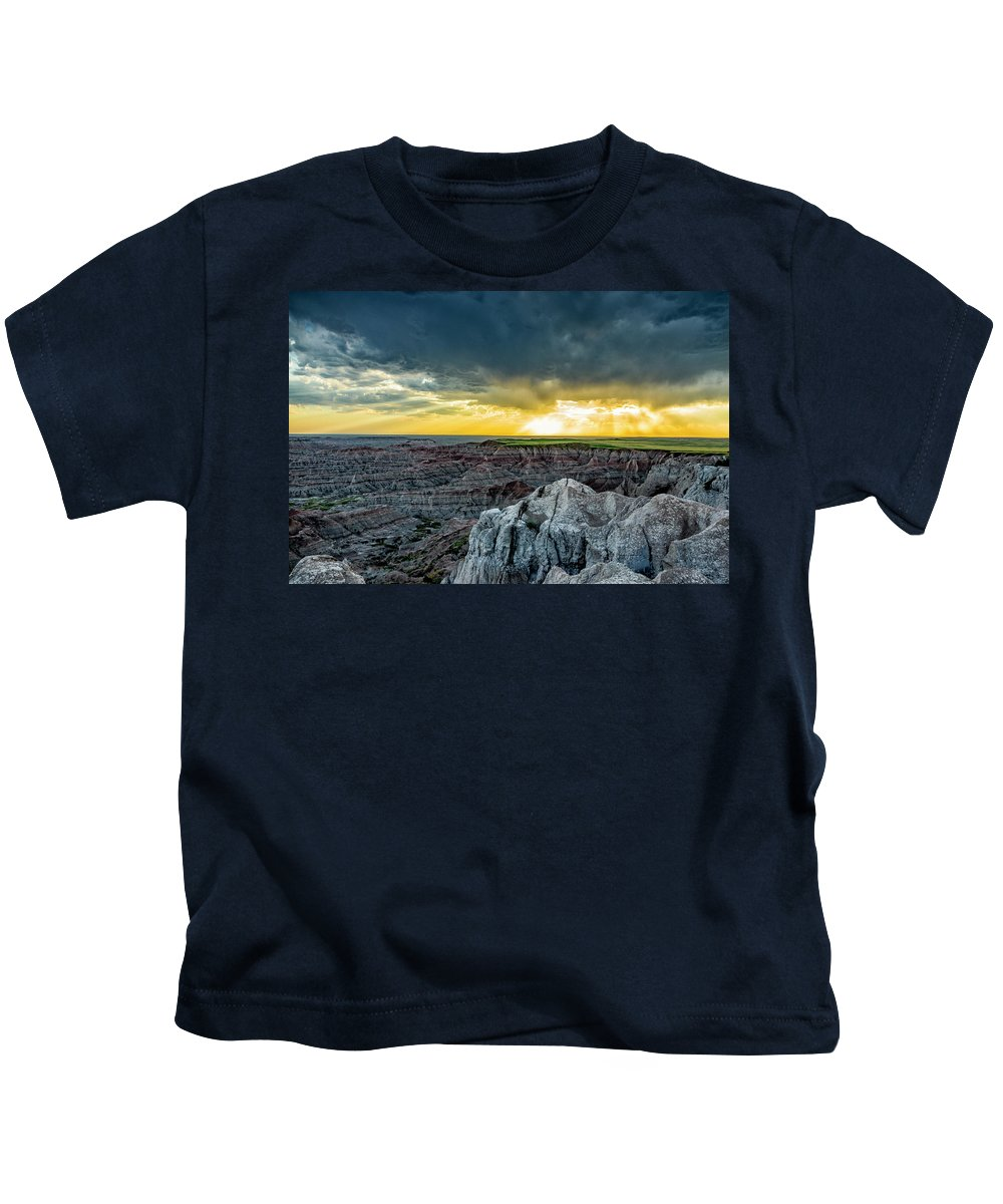 Badlands Kids T-Shirt featuring the photograph Badlands Np Pinnacles Overlook 2 by Donald Pash