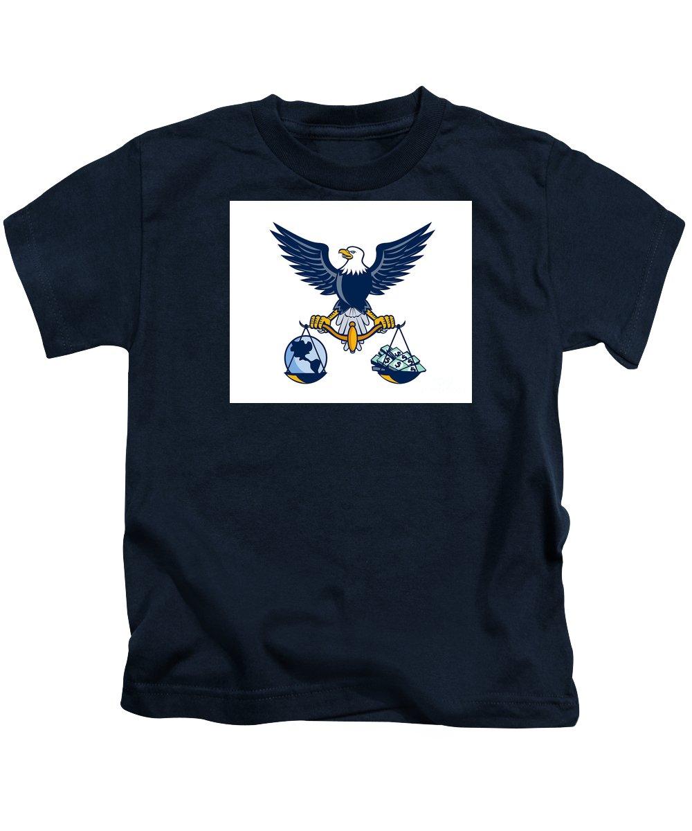 American Eagle Kids T-Shirt featuring the digital art Bald Eagle Hold Scales Earth Money Retro by Aloysius Patrimonio