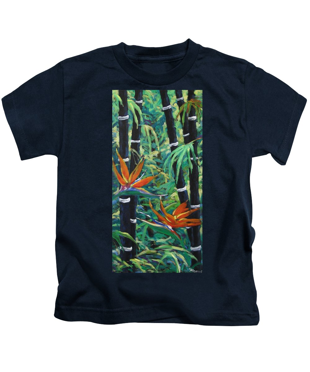 Bamboo Kids T-Shirt featuring the painting Bamboo And Birds Of Paradise by Richard T Pranke