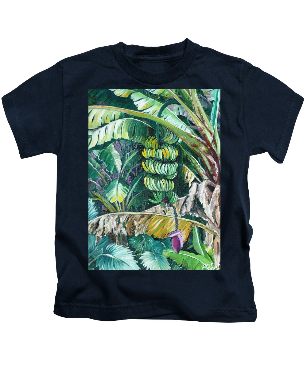 Caribbean Painting Bananas Trees P Painting Fruit Painting Tropical Painting Kids T-Shirt featuring the painting Bananas by Karin Dawn Kelshall- Best