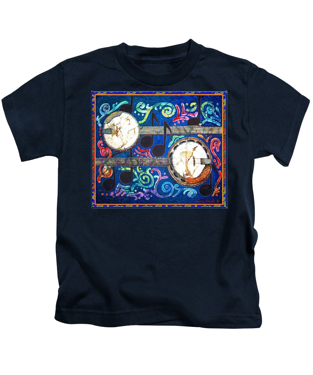 Banjo Kids T-Shirt featuring the painting Banjos - Bordered by Sue Duda