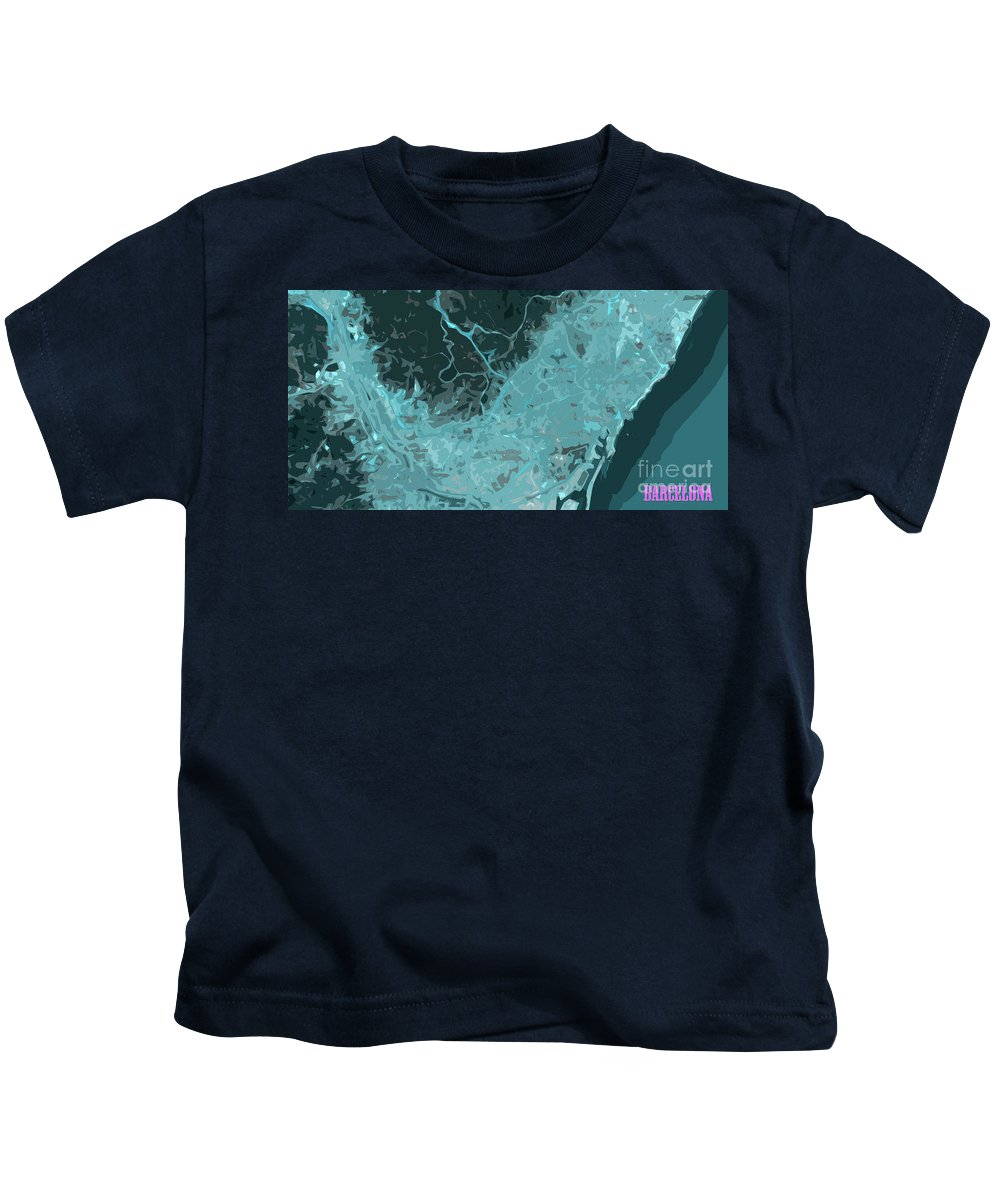 Barcelona Kids T-Shirt featuring the digital art Barcelona Traffic Abstract Blue Map by Drawspots Illustrations