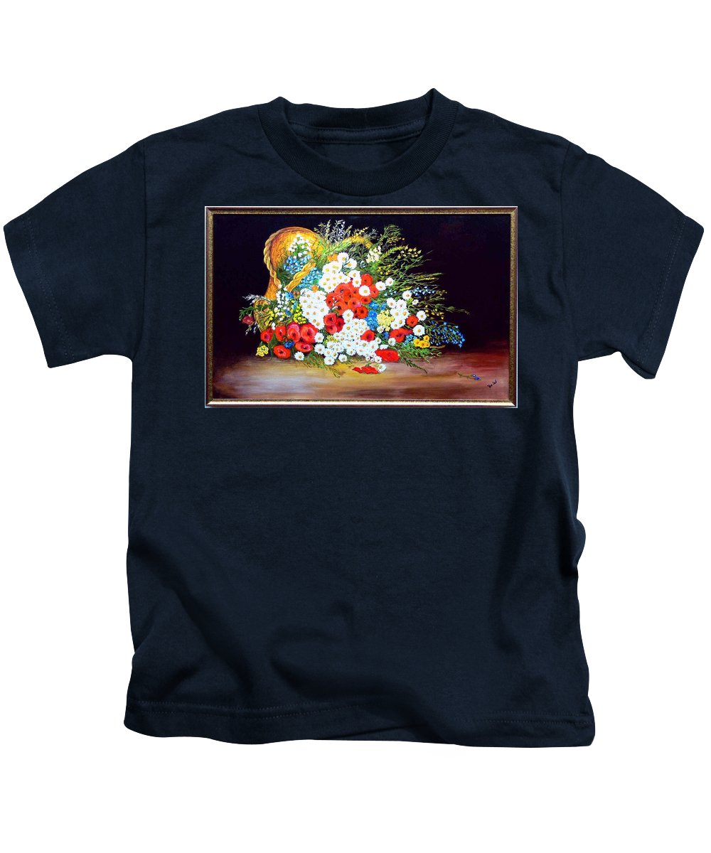 Summer Kids T-Shirt featuring the painting Basket with summer flowers by Helmut Rottler