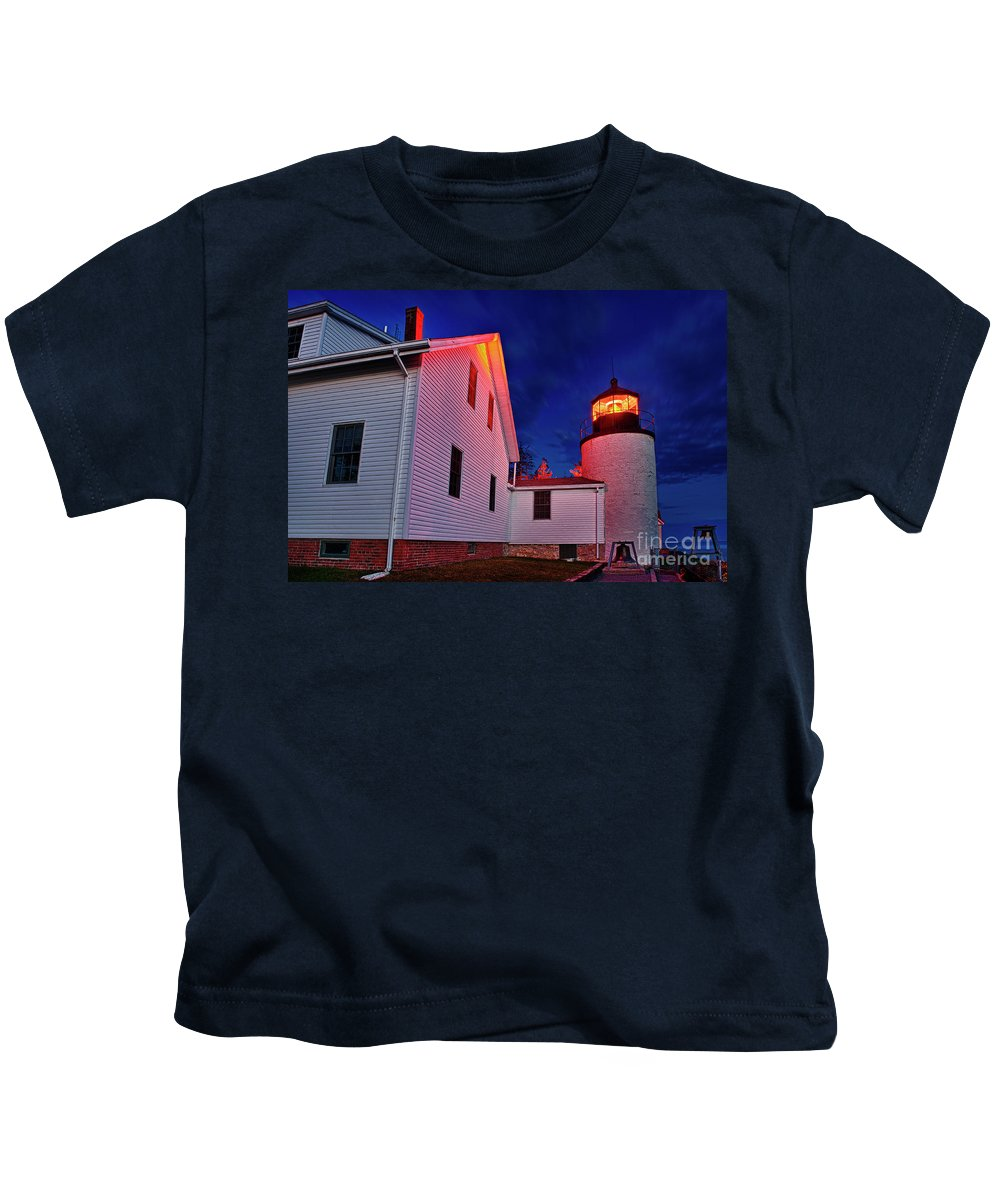 Acadia Kids T-Shirt featuring the photograph Bass Harbor Lighthouse Maine by John Greim