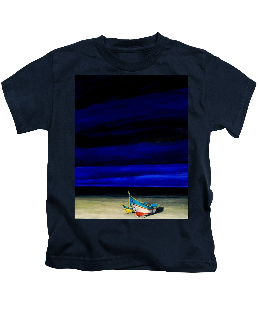 Landscape Painting Kids T-Shirt featuring the painting Beached by Edith Peterson-Watson