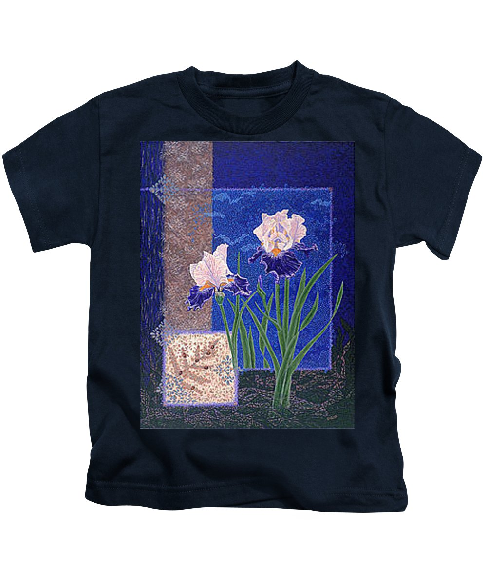 Irises Kids T-Shirt featuring the painting Bearded Irises Fine Art Print Giclee Ladybug Path by Baslee Troutman