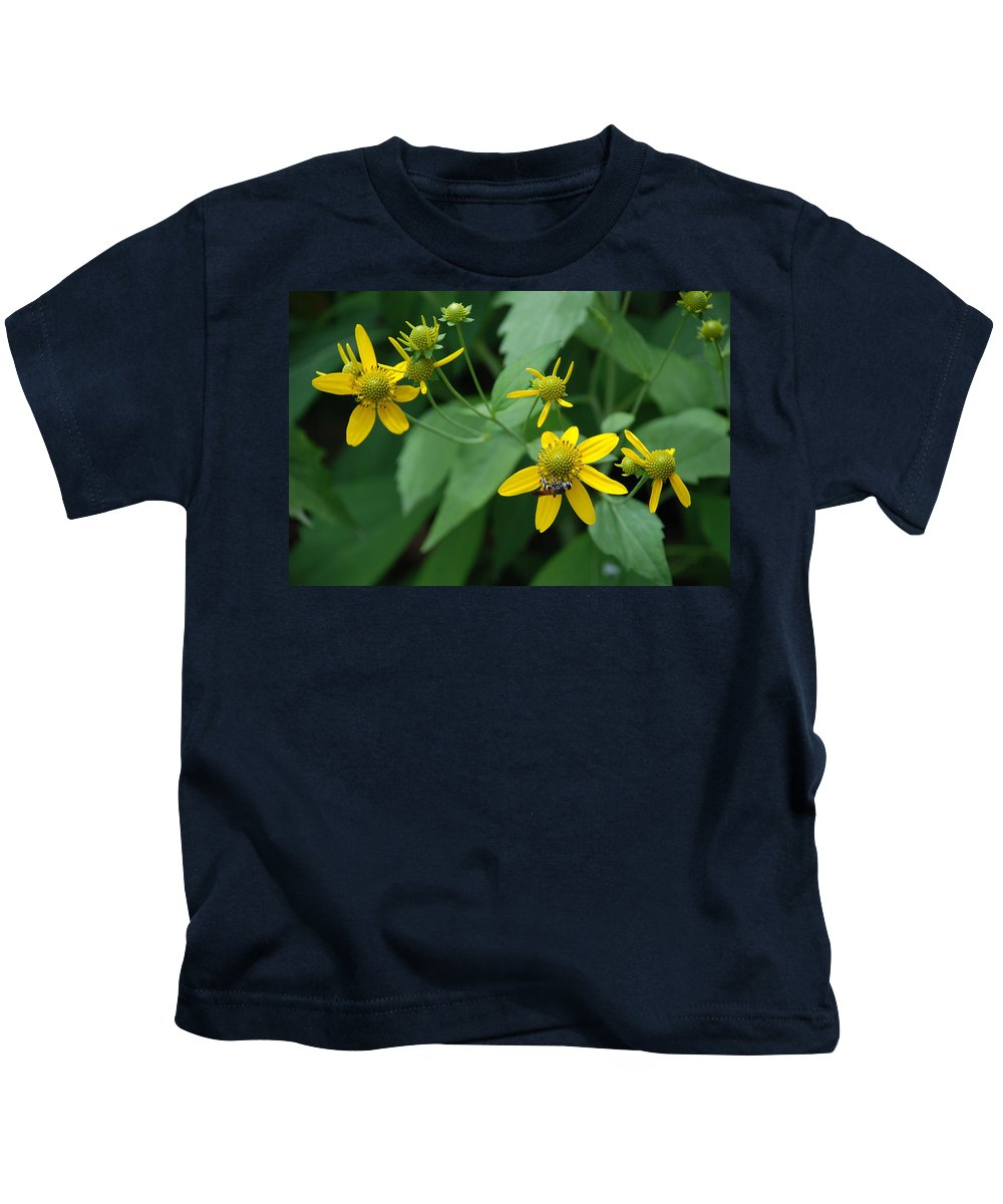 Macro Kids T-Shirt featuring the photograph Bee On A Flower by Rob Hans