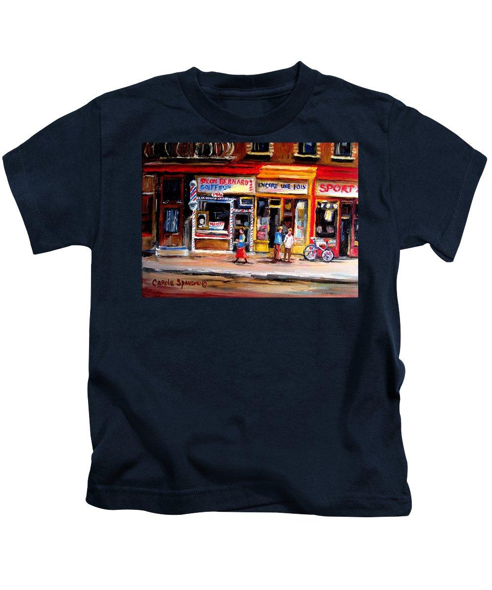 Bernard Barbershop Kids T-Shirt featuring the painting Bernard Barbershop by Carole Spandau