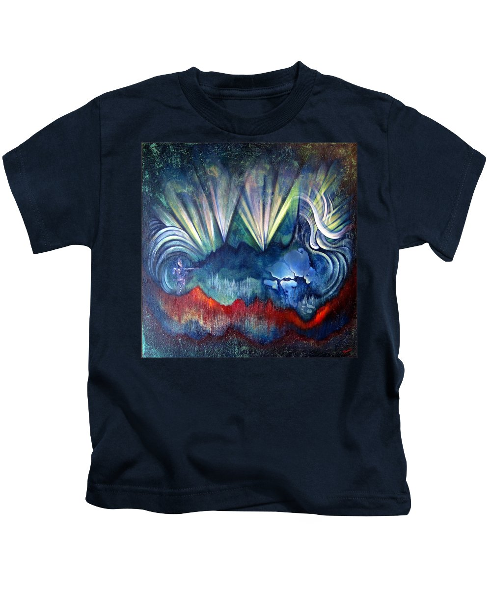Surreal Kids T-Shirt featuring the painting Beware The Hollow Man by Shadia Derbyshire