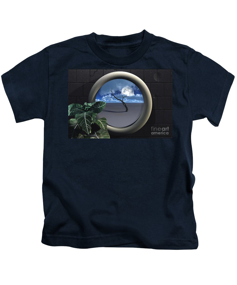 Walls Kids T-Shirt featuring the digital art Beyond Walls by Richard Rizzo