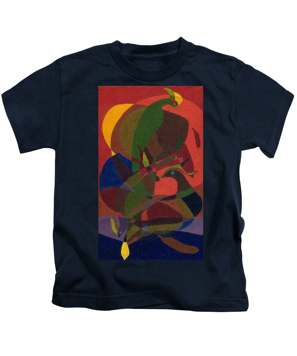 Painting Kids T-Shirt featuring the painting Birds. by Andrzej Pietal