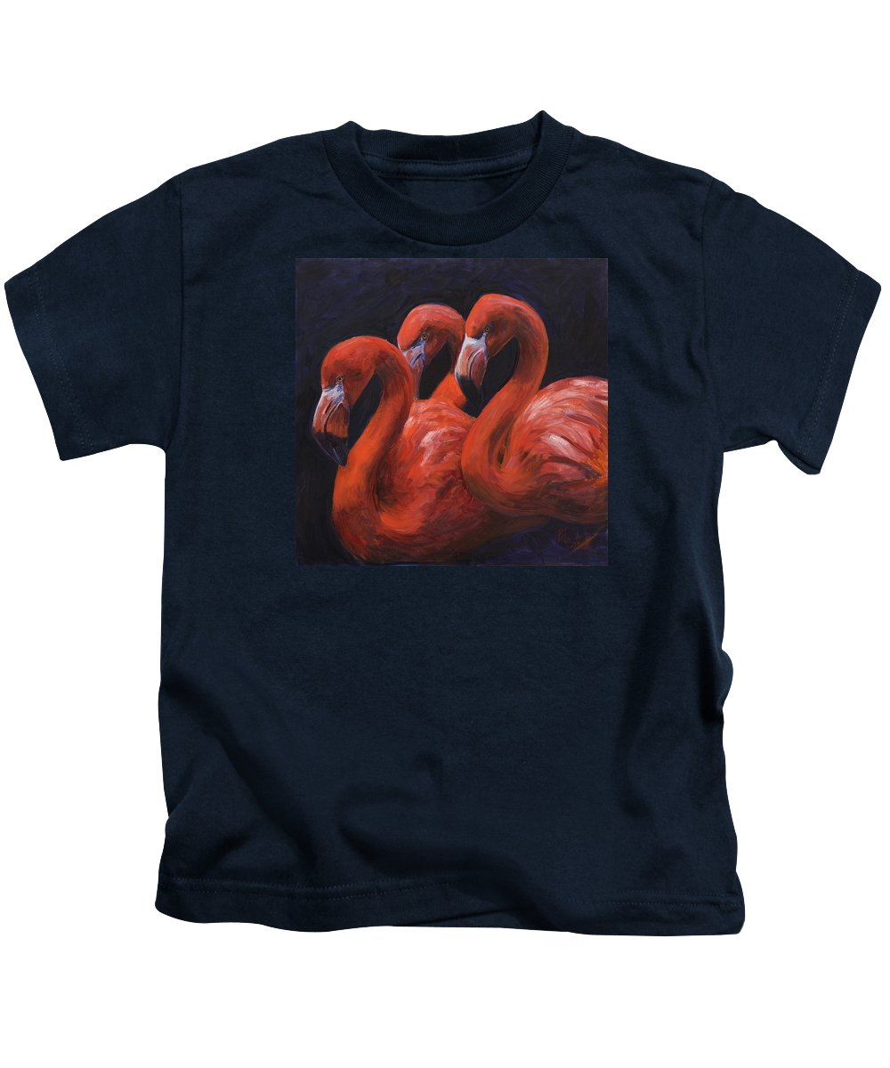 Flamingos Kids T-Shirt featuring the painting Birds Of A Feather by Billie Colson