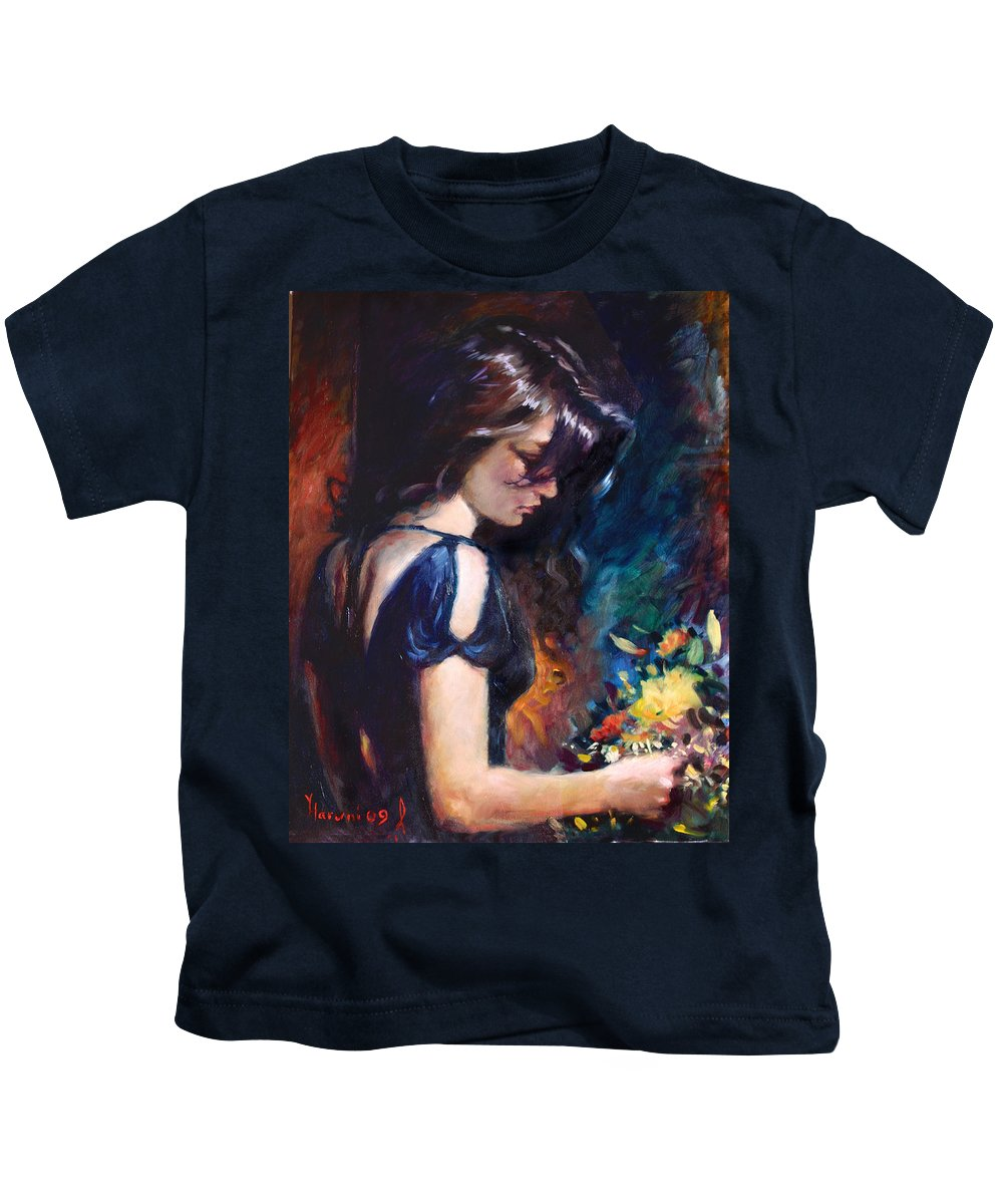 Portrait Kids T-Shirt featuring the painting Birthday Girl by Ylli Haruni