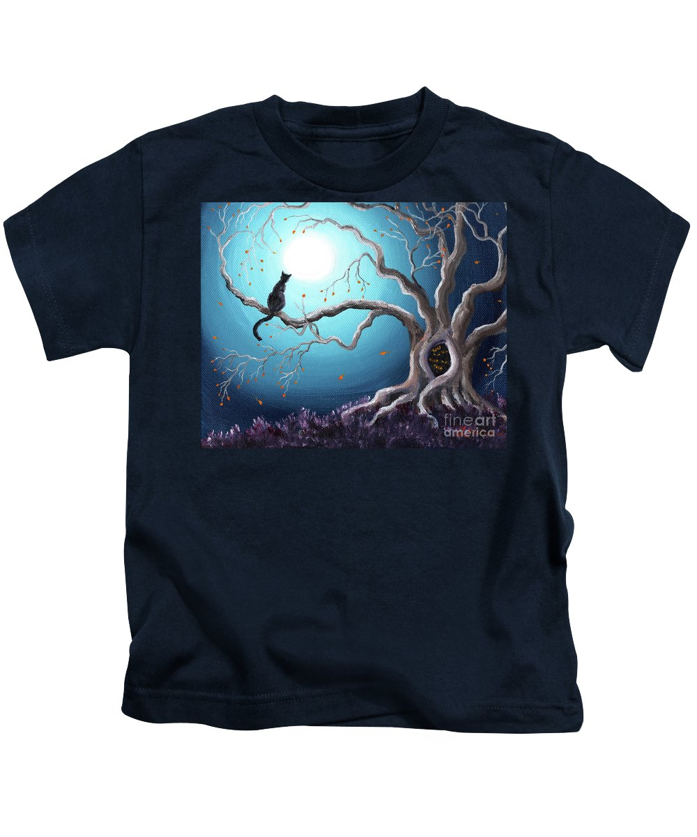 Landscape Kids T-Shirt featuring the painting Black Cat In A Haunted Tree by Laura Iverson