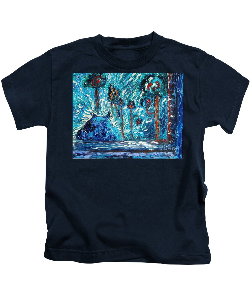Abstract Cat Paintings Kids T-Shirt featuring the painting Black Cat by Seon-Jeong Kim