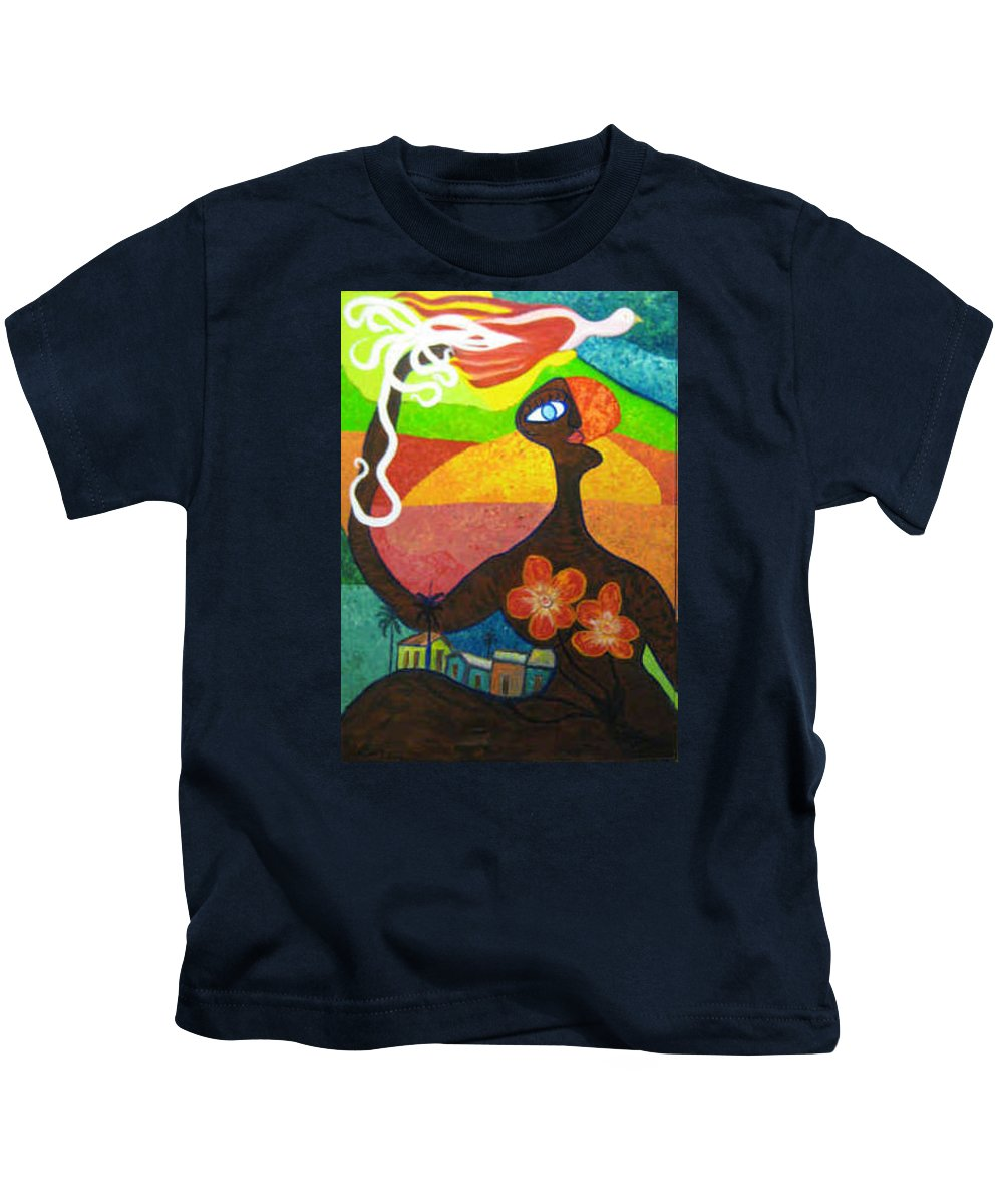 Nature Kids T-Shirt featuring the painting Black Nature by Julio Sanchez - Julsan