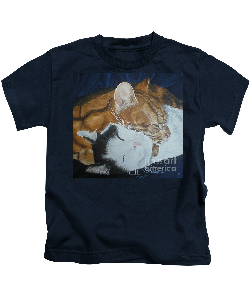 Cats Tabby Black White Jonah Jake Pinned Kids T-Shirt featuring the painting Blissful Slumber by Pauline Sharp