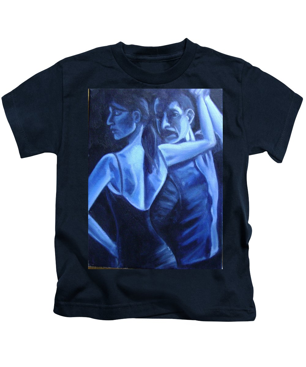 Kids T-Shirt featuring the painting Bludance by Toni Berry