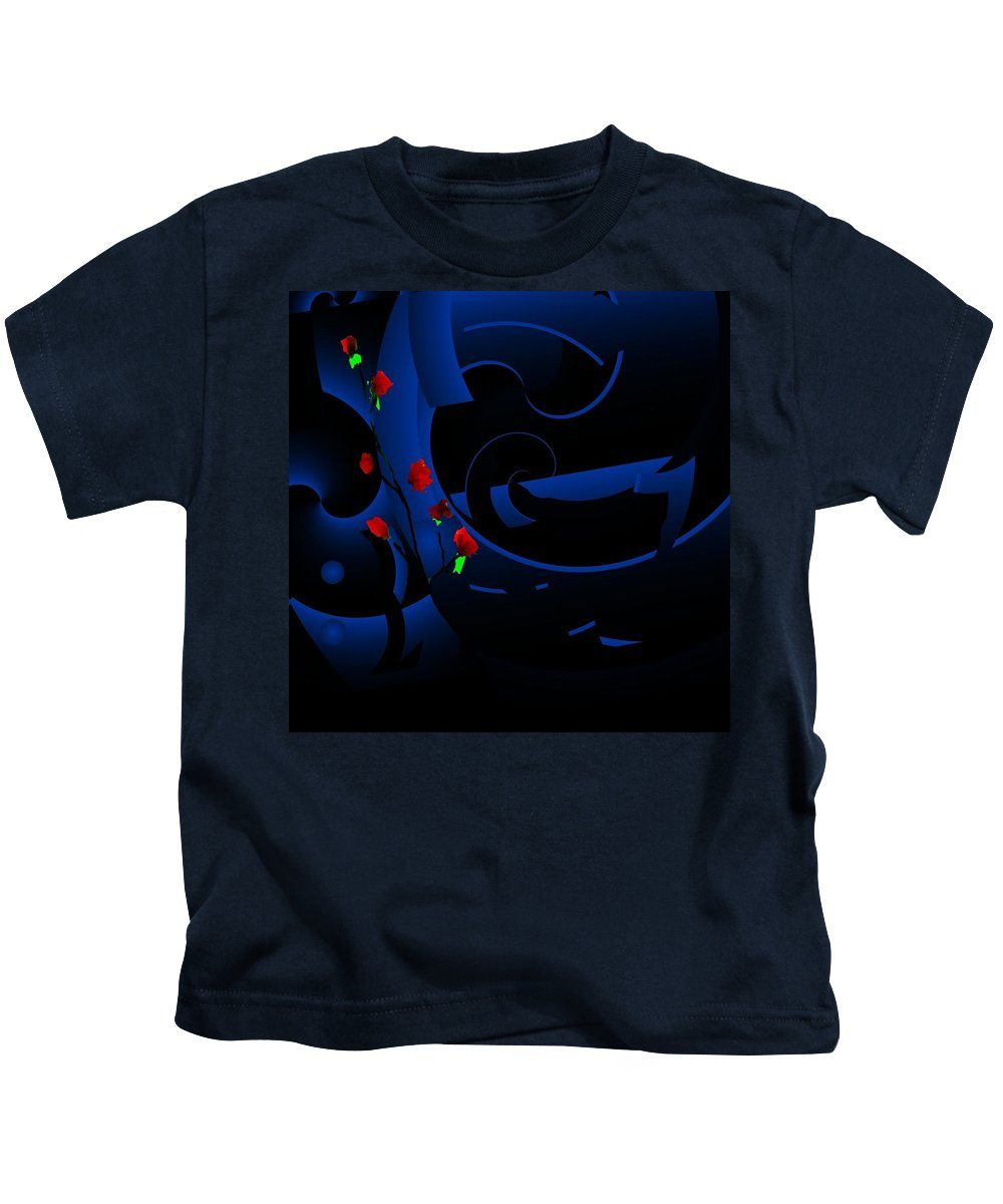 Abstract Kids T-Shirt featuring the digital art Blue Abstract by David Lane