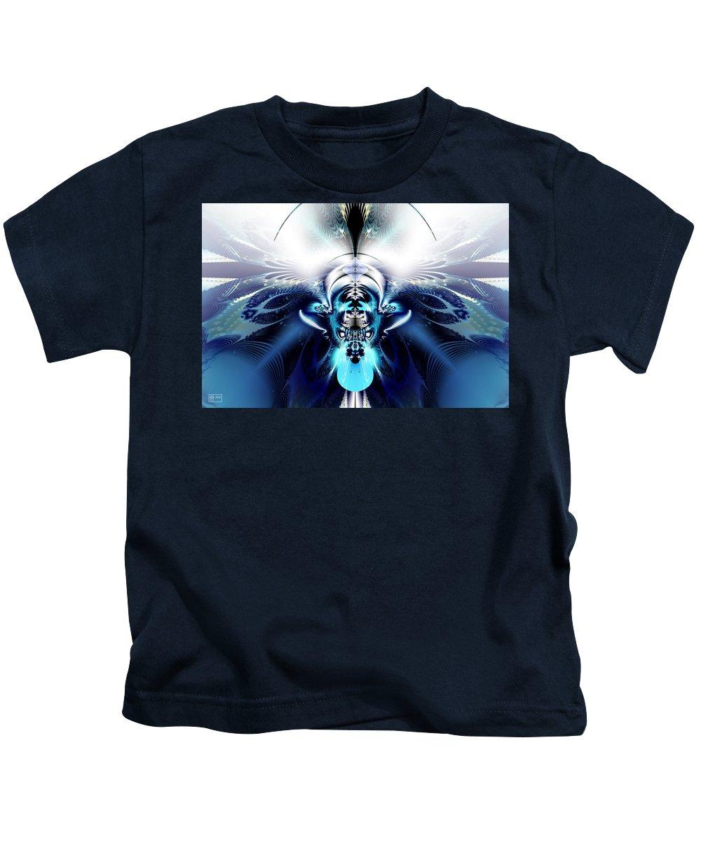 Abstract Digital Fractal Kids T-Shirt featuring the digital art Blue Blazes by Jim Pavelle