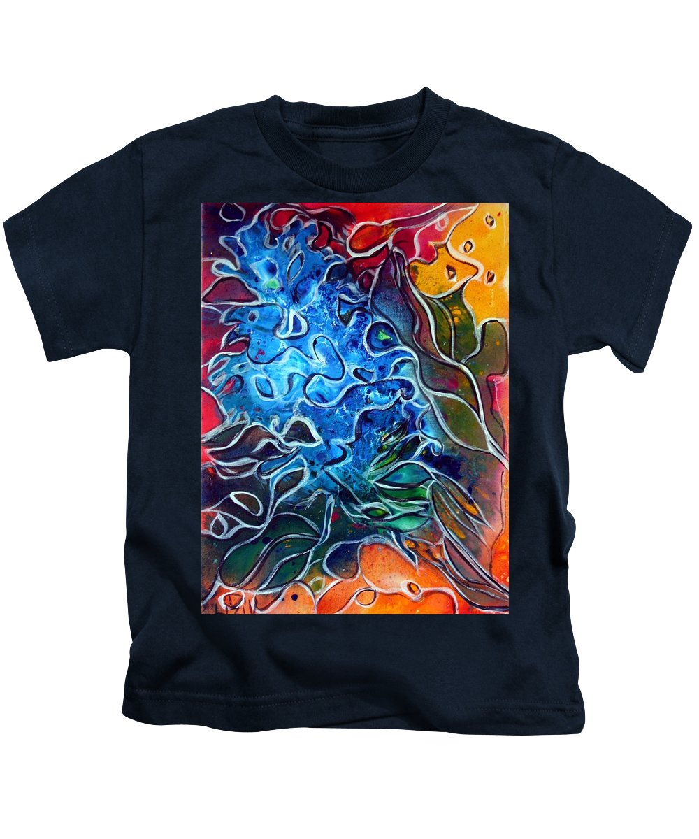 Abstract Kids T-Shirt featuring the painting Blue Blossom by Luiza Vizoli