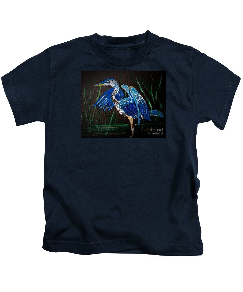 Blue Heron Kids T-Shirt featuring the painting Blue Heron At Night by Anne Sands