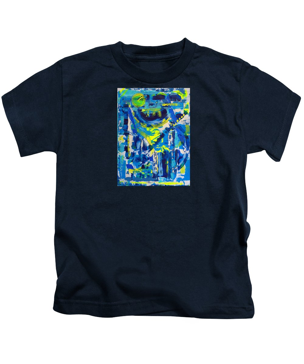 Abstract Kids T-Shirt featuring the painting Blue Moon City by J R Seymour
