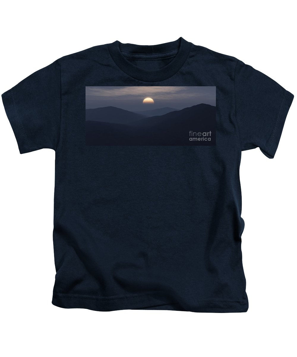 Mountains Kids T-Shirt featuring the digital art Blue Mountains by Richard Rizzo
