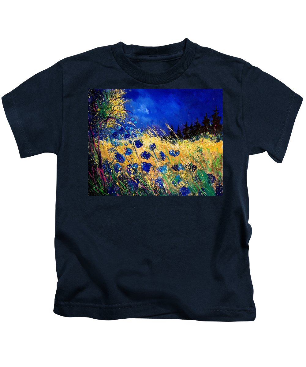 Flowers Kids T-Shirt featuring the painting Blue Poppies 459070 by Pol Ledent
