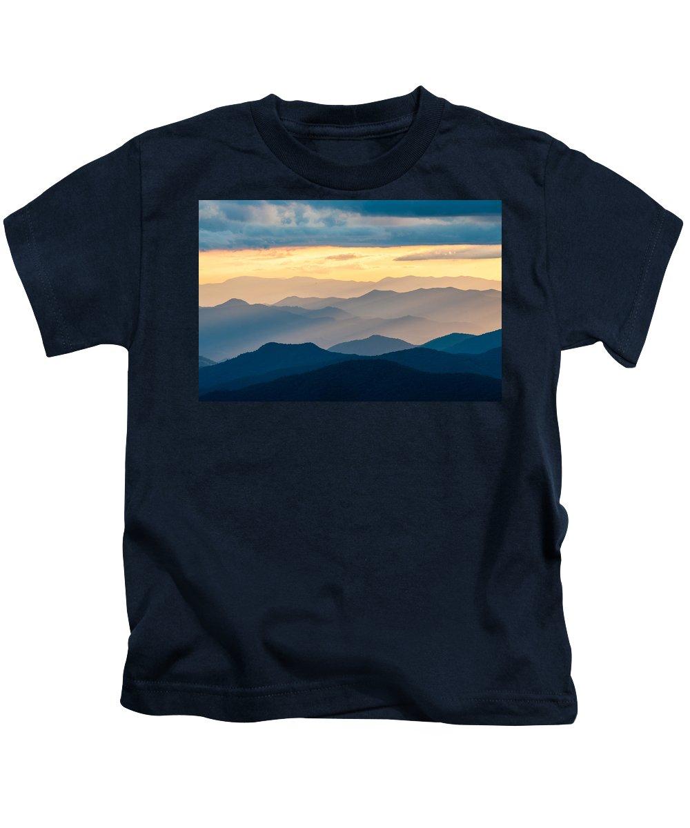 Blue Ridge Parkway Kids T-Shirt featuring the photograph Blue Ridge Parkway Nc Blue Ridges And Golden Light by Robert Stephens