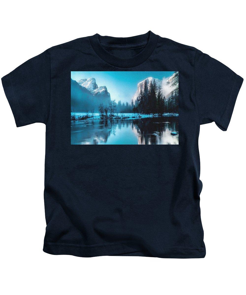 Rural Kids T-Shirt featuring the painting Blue Winter Fantasy. L B by Gert J Rheeders