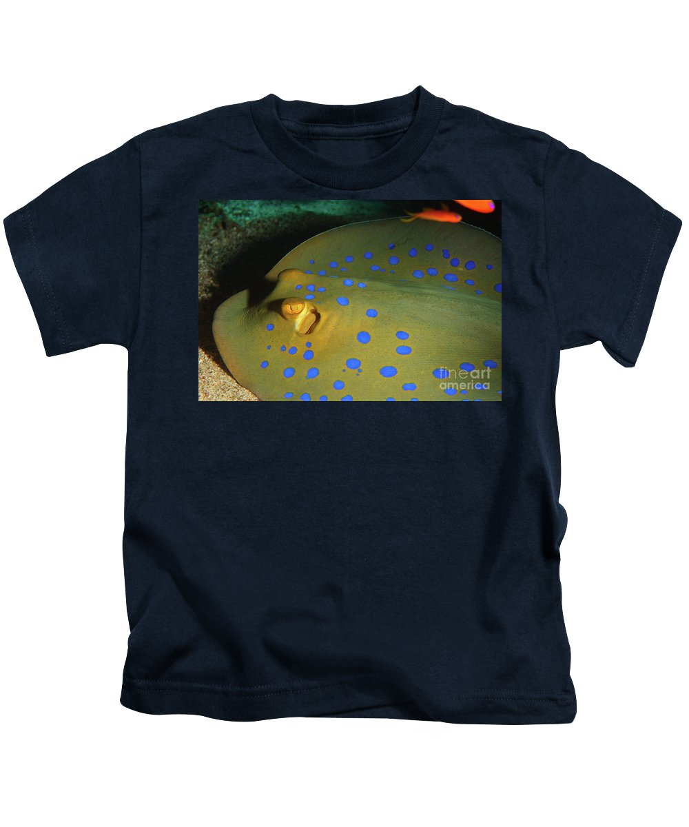 Underwater Kids T-Shirt featuring the photograph Bluespotted Ribbontail Ray by Hagai Nativ