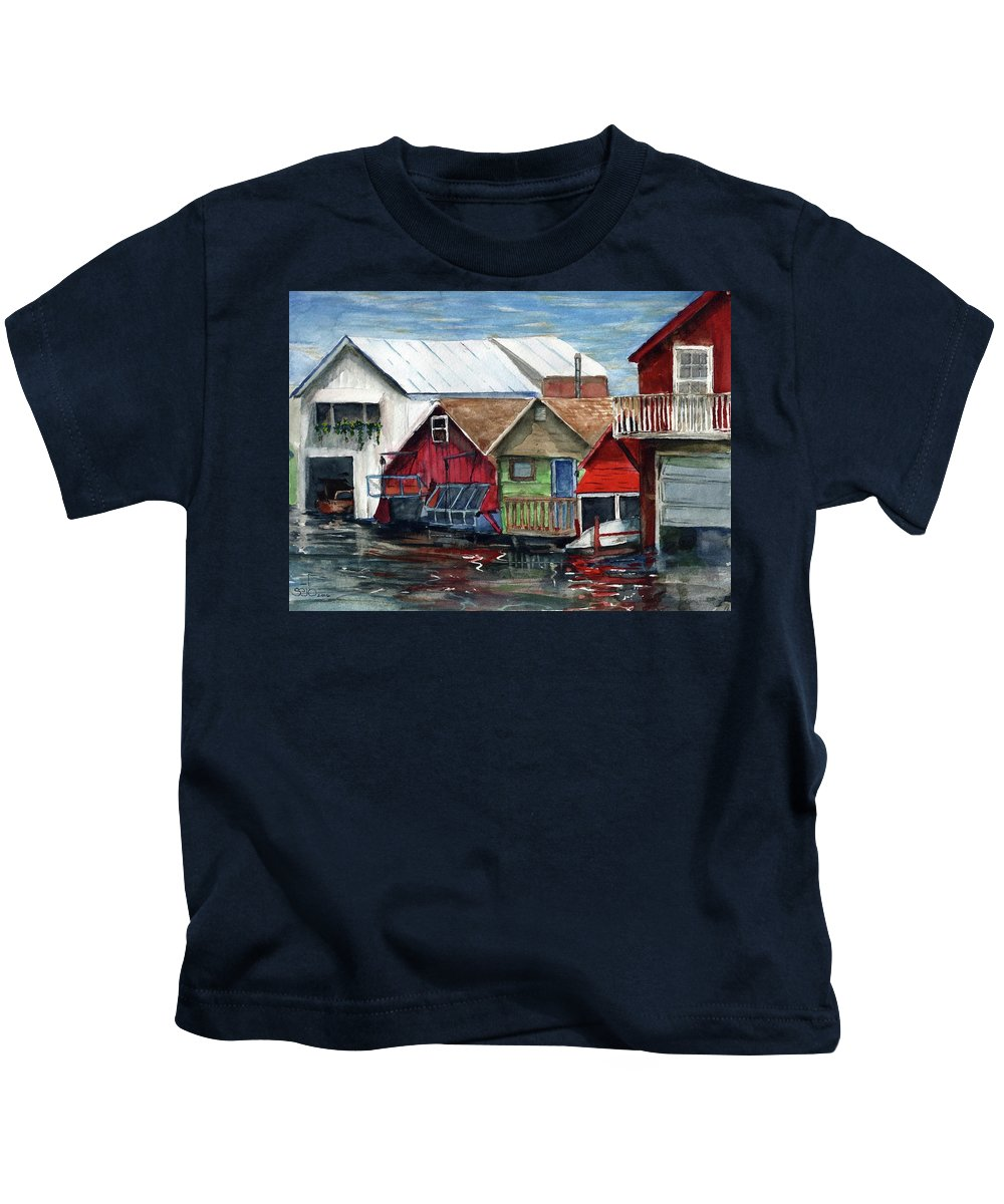 Canadaigua Lake Kids T-Shirt featuring the painting Boat Houses On The Lake by Don Seib