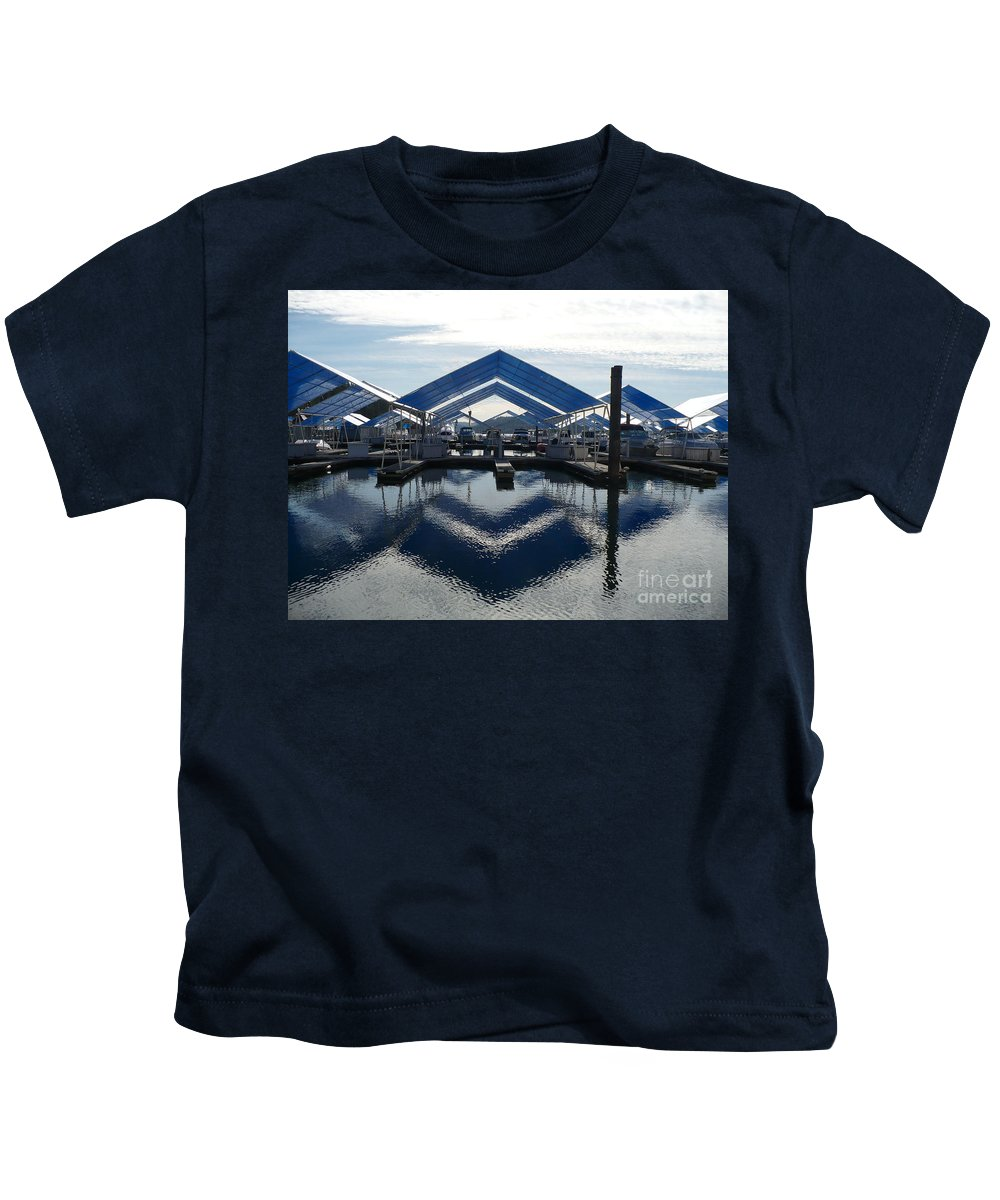 Boats Kids T-Shirt featuring the photograph Boat Reflection On Lake Coeur D'alene by Carol Groenen