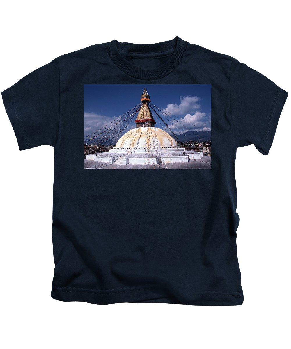 Bodhnath Stupa Kids T-Shirt featuring the photograph Bodhnath Stupa by Patrick Klauss